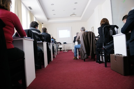 business people group have education leasson on seminar training event at small bright office conference room photo