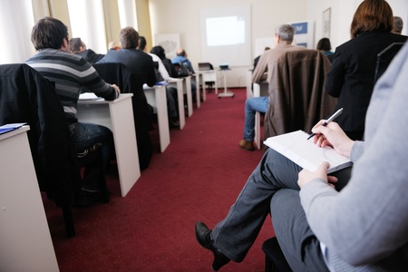 seminar room: business people group have education leasson on seminar training event at small bright office conference room Stock Photo