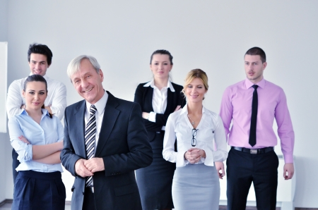 business people  group at a meeting in a light and modern office environment. photo