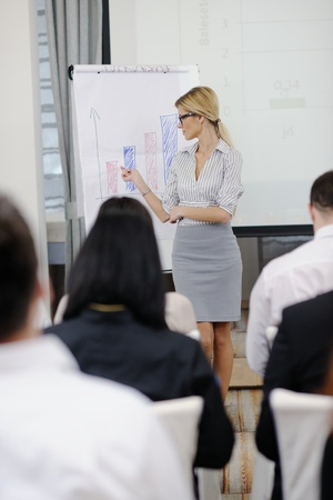 business people group at meeting seminar presentation in brigt conference room Stock Photo - 13112495