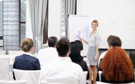 business people group at meeting seminar presentation in brigt conference room Stock Photo - 13112485
