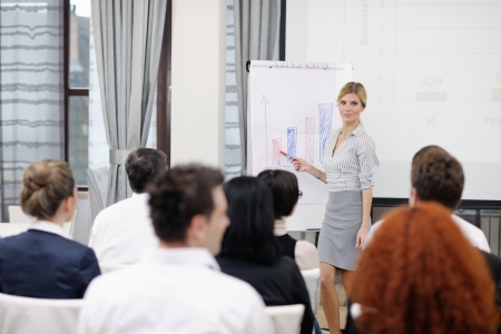 business people group at meeting seminar presentation in brigt conference room Stock Photo - 13112512