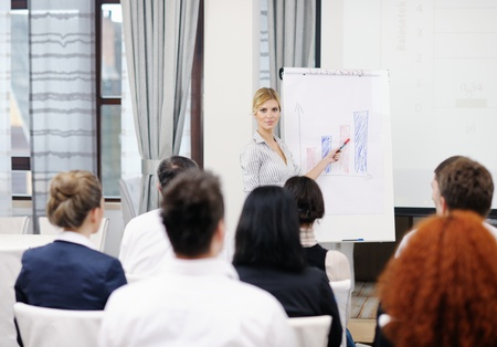 business people group at meeting seminar presentation in brigt conference room Stock Photo - 13112489