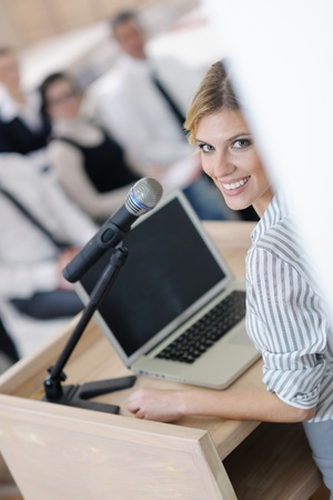 business people group at meeting seminar presentation in brigt conference room Stock Photo - 13112538