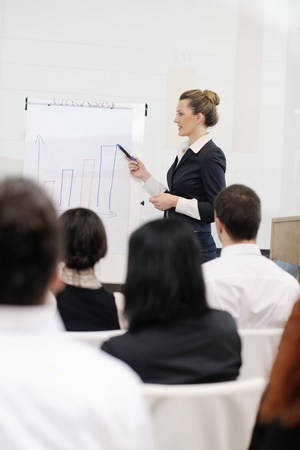 business people group at meeting seminar presentation in brigt conference room Stock Photo - 13112462