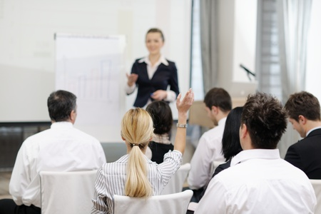 business people group at meeting seminar presentation in brigt conference room Stock Photo - 13112481