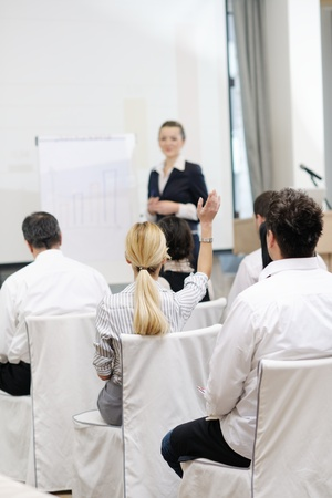 business people group at meeting seminar presentation in brigt conference room Stock Photo - 13112476
