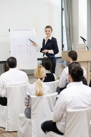 business people group at meeting seminar presentation in brigt conference room Stock Photo - 13112479
