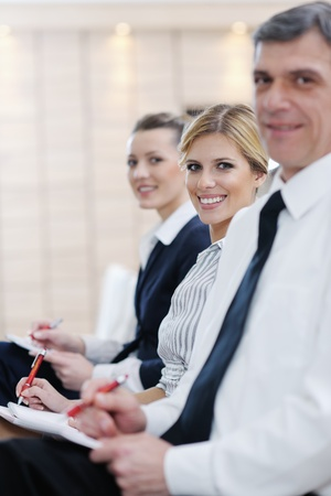 small group of people: business people group have education leasson on seminar training event at small bright office conference room Stock Photo