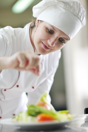 beautiful young chef woman prepare and decorating tasty food in kitchen photo