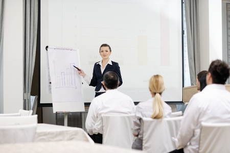 business people group at meeting seminar presentation in brigt conference room Stock Photo - 13276518