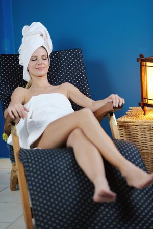 beauty center: Beautiful young woman in spaand wellness. Face back and  stone massage