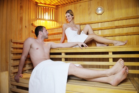 steam bath: finland sauna warming up and healing in a spa wellness resort cabin Stock Photo
