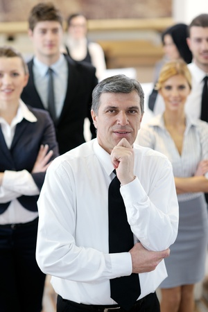small group: business people group have education leasson on seminar training event at small bright office conference room Stock Photo