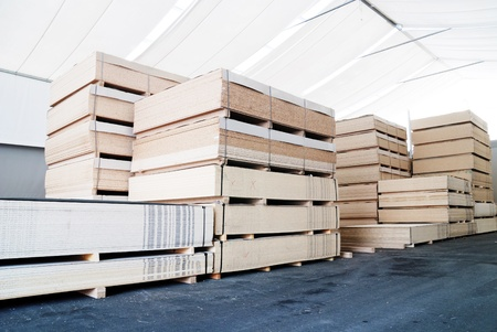 lumber industry: wood business storage warehouse store Stock Photo