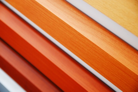 wood material samples in home decoration store photo