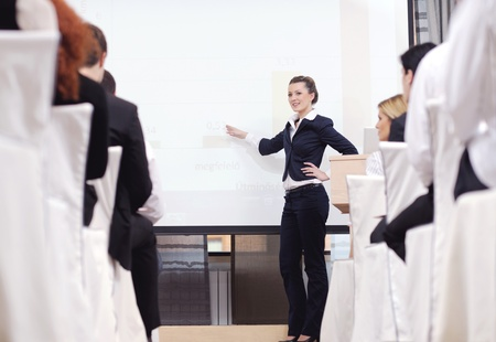 business people group at meeting seminar presentation in brigt conference room Stock Photo - 13476201
