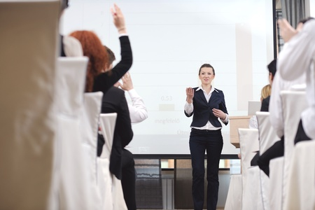 business people group at meeting seminar presentation in brigt conference room Stock Photo - 13477589