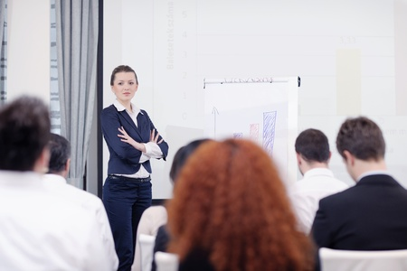 business people group at meeting seminar presentation in brigt conference room Stock Photo - 13477885