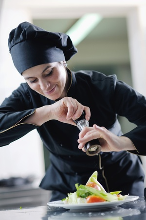 beautiful young chef woman prepare and decorating tasty food in kitchen Stock Photo - 13487796