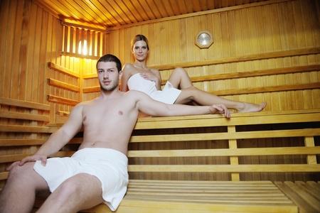 finland sauna: finland sauna warming up and healing in a spa wellness resort cabin Stock Photo
