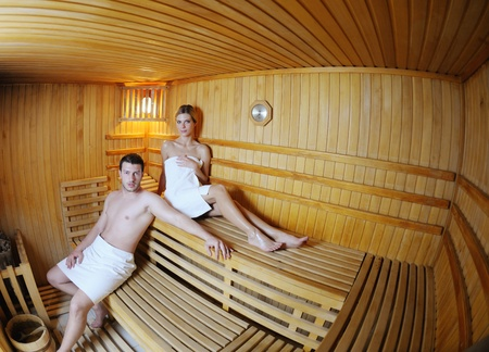 finland sauna: finland sauna warming up and healing in a spa wellness resort cabin Stock Photo