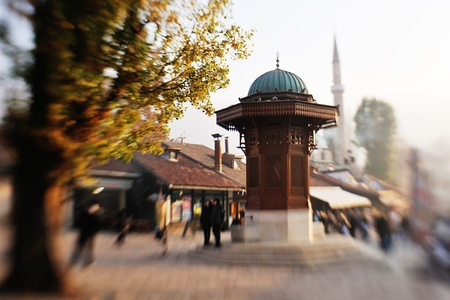 fount: sarajevo capital of bosnia in europe, old city center historical fountain and popular travel destination Stock Photo