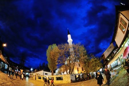 bosnia: sarajevo capital of bosnia in europe, old city center historical fountain and popular travel destination Editorial