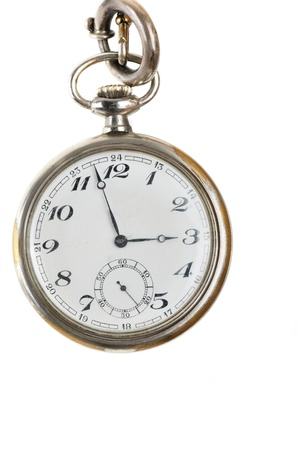 artifact: old retro pocket watch isolated on white