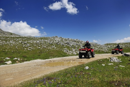 4 wheel: quad weel drivers relax and ride on height mountain and fresh air Stock Photo