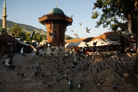 bosnia: sarajevo capital of bosnia in europe, old city center historical fountain and popular travel destination Stock Photo