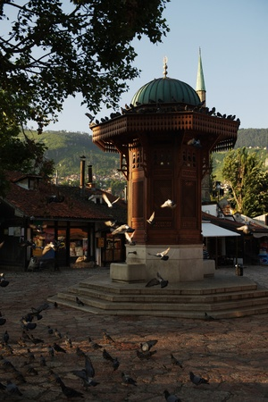 sarajevo capital of bosnia in europe, old city center historical fountain and popular travel destination photo