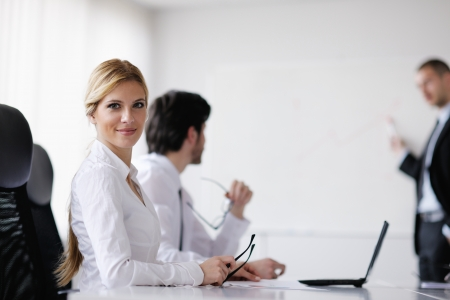 manager office: Group of happy young  business people in a meeting at office Stock Photo