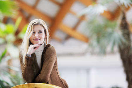 beautiful young woman student portrait while relax on coffee break Stock Photo - 13661954