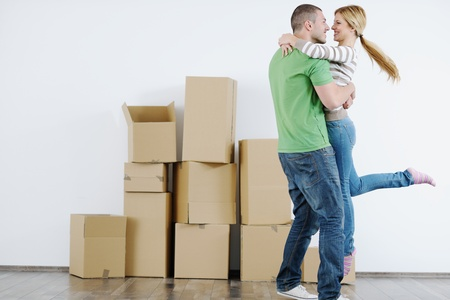 new home: happy Young couple moving in new house