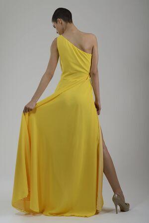 elegant woman in  fashionable  stylish dress posing in the studio Stock Photo - 13793500