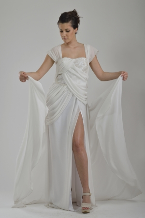 elegant woman in  fashionable  stylish dress posing in the studio photo