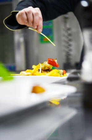 gourmet dinner: beautiful young chef woman prepare and decorating tasty food in kitchen