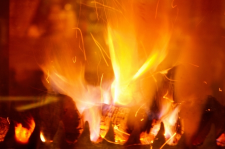 abstract fireplace flame background at home photo