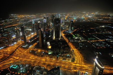 Panorama of down town Dubai modern city at night photo