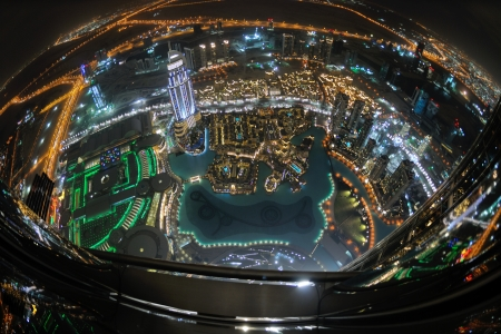 futuristic city: Panorama of down town Dubai modern city at night