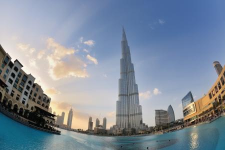 DUBAI, UAE - FEBRUARY 19: Burj Khalifa facade on december 29, 2011 in Dubai, UAE. Burj Khalifa is a tallest building in the world, at 828m. Located on Downtown Dubai, Sheikh Zayed Road.