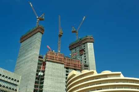 tower block: Construction site with crane and building