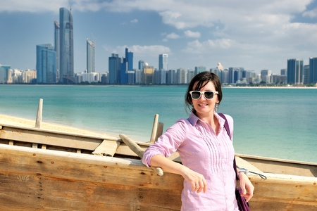 abu dhabi: beautiful young woman tourist in dubai and abu dhabi  at vacation and travel trip