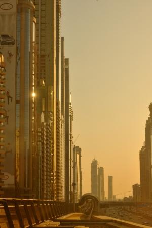 yellow cab: traffic jam in big city at sunset Stock Photo