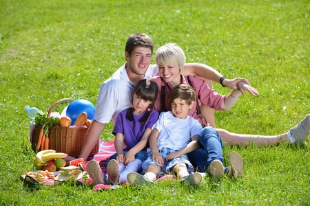 family picnic: Happy young  family playing together with kids and eat healthy food  in a picnic outdoors