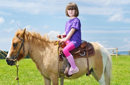 happy child ride farm animal brown pony with blue sky in background and beautiful nature Stock Photo - 14593438