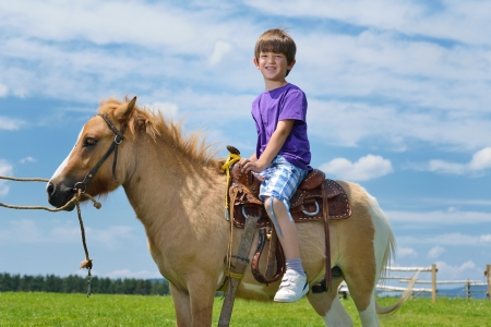 pony ride: happy child ride farm animal brown pony with blue sky in background and beautiful nature