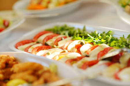 Catering food in dish at a wedding party photo