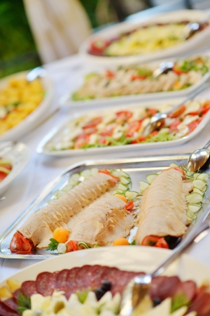 party tray: Catering food in dish at a wedding party
